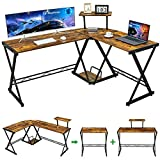 """GreenForest L Shaped Desk 58"""" Reversible Corner Computer Desk with Movable Shelf and CPU Stand, Gaming Desk with Sturdy X Leg Space Saving Home Office Workstation Table, Walnut"""