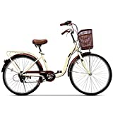 24' Women's Bicycle Aluminum Cruiser Bike 6 Speed Shift V Brakes City Light Commuter Retro Ladies Adult with car Basket