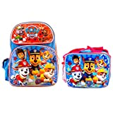 Paw Patrol Backpack Book Bag with Matching Lunch Box Travel, Fun, Field Trip, Everyday Bag (16 Inch w/Lunch Box)