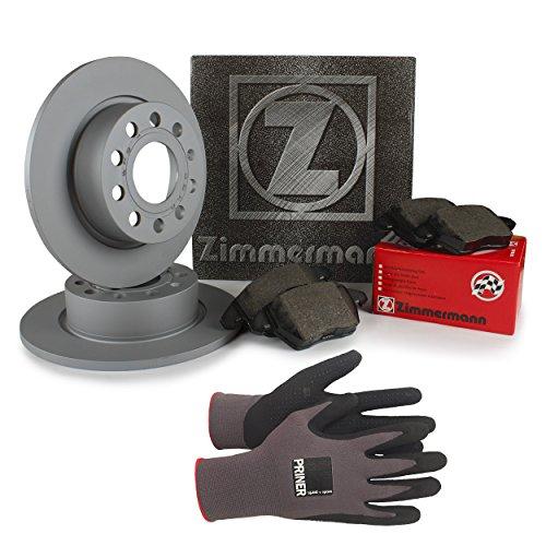 Inspektionspaket Zimmermann Bremsen Set inkl. Bremsscheiben Ø 253 mm und Bremsbeläge für hinten, 100{5e5978a1d67c0ce635cc2a853287c8ab150b3cc0ed38e8464903f5a8eec821aa} passend für Ihr Fahrzeug, inkl. Priner Montagehandschuhe, AN149