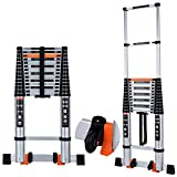 Telescoping Ladder Extension Multi-Purpose 18.5 FT Aluminum Foldable Industrial Compact Loft Ladder Household Daily...