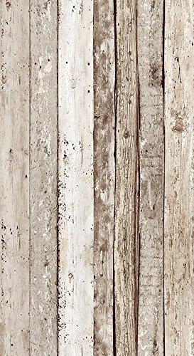 Livingwalls selbstklebendes Panel Pop up Panel Vintage Holzoptik fotorealistisch 2,50 m x 0,35 m beige braun Made in Germany 942192 94219-2