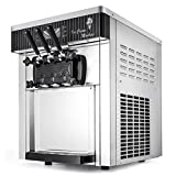 Mophorn Commercial Soft Ice Cream Machine 20-28L/5.28-7.4Gallon Ice Cream Cones 3 Flavors Ice cream making Stainless Steel LCD Display Supermarket 2200W(Desktop)