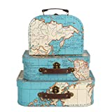 Sass & Belle Lot de 3 valises de rangement Motif Carte du monde