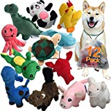Squeaky Plush Dog Toy Pack for Puppy, Small Stuffed Puppy Chew Toys 12 Dog Toys Bulk with Squeakers,...