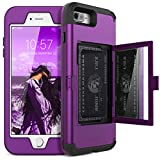 iPhone 7 Plus Wallet Case - WeLoveCase Defender Wallet Design with Hidden Back Mirror and Card Holder Heavy Duty Protection Shockproof All-round Armor Protective Case for iPhone 7 Plus/8 Plus - Purple