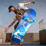 Complete Skateboards for Kids Adults, 31' x 8' Standard Skate board with Colorful Flashing Wheels...