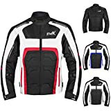 Textile Motorcycle Jacket For Men Dualsport Enduro Motorbike Biker Riding Jacket Breathable CE ARMORED WATERPROOF (Red, 2XL)