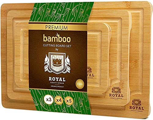Organic Bamboo Cutting Board with Juice Groove (3-Piece Set) - Best Kitchen Chopping Board for Meat (Butcher Block) Cheese and Vegetables | Anti Microbial Heavy Duty Serving Tray w/Handles (3-Piece)
