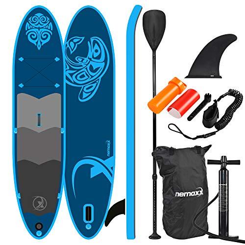 Nemaxx PB330 Tavola da paddel Surf SUP 330x76x15cm, Blu - tavola da paddel Board, tavola da Surf - Gonfiabile con Borsa, pagaie, Pinne, Pompa ad Aria, Kit di Riparazione.