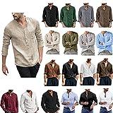 Hommes T-Shirt à Manches Courte T-Shirt de Coton Respirant Chemise en Lin de Coton lâche Tops V lâche longues pour homme en lin Manches Courtes Tops Mode...