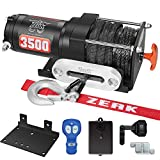 ZEAK 3500 lb. Advanced 12V DC Electric Winch, Off Road Waterproof, Synthetic Rope, Mount,...