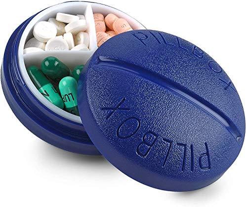 Pilulier Rond de Voyage - Mini Boîte à Médicaments Portable et Compacte...