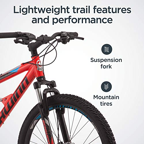 Product Image 4: Schwinn Protocol 1.0 Mens and Womesn Mountain Bike, 26-Inch Wheels, 24-Speed Drivetrain, Lightweight Aluminum Frame, Full Suspension, Red/Blue