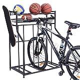 Mythinglogic Bike Rack for Garage Storage, 3 Bike Floor Parking Stand for Garage Organizer, Bicycle Rack with Storage Rack, Free Standing Bike Rack for Adult or Kids Bike