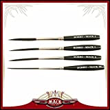 Set of 4 Sizes 00-2 Series Bobbo-Mack Super Quad 4 Action Scroll Pinstriper Brushes Blue Squirrel & Black Synthetic Hair