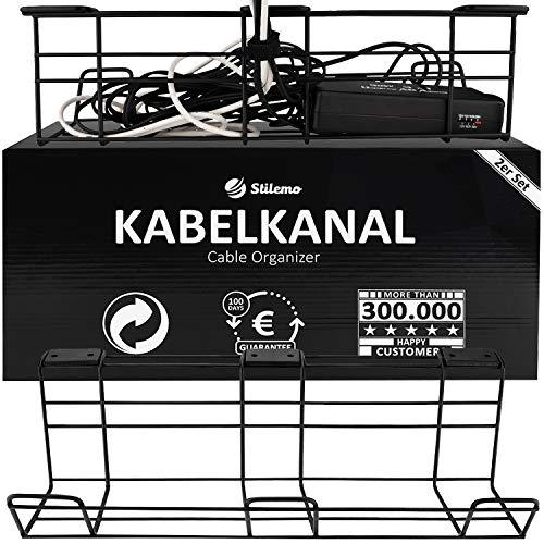 Stilemo Kabelkanal Schreibtisch - Kabelmanagement Schreibtisch 2er Set - Kabelhalter Kabelwanne Tisch für einen ordentlichen Arbeitsplatz - Kabelkanal schwarz