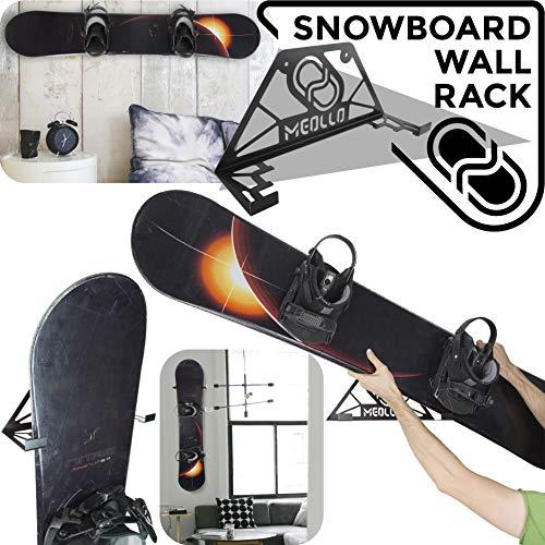 MEOLLO Supporto da Parete Snowboard portasnowboard (100% Acciaio) (2 X Nero)