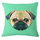 Throw Pillow Cover Decorative Durable Cushion Cover 18 x 18 Pillow Case Abstract Vivid Pug Dog Head Geometric Triangle Diamond Hidden Zipper Home Decor Spring Summer Sofa Couch Bedroom Living Room