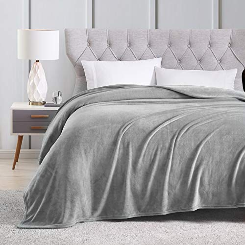EXQ Home Fleece Blanket King Size Grey Throw Blanket for Bed or Couch - Microfiber Fuzzy Flannel Blanket for Adults or Kids