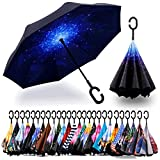 Spar. Saa Double Layer Inverted Umbrella with C-Shaped Handle, Anti-UV Waterproof Windproof Straight...