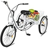 24-inch Adult Tricycles 7 Speed 3 Wheel Bikes, Bicycles Cruise Trike with Shopping Basket for Seniors Women Men, White 【Shipping from US】
