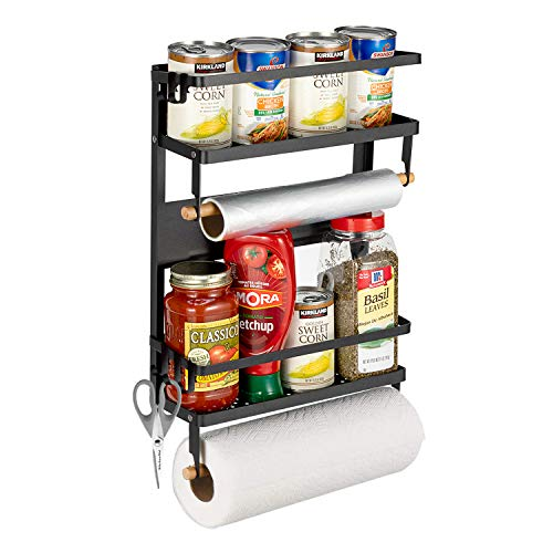 Pittaigo Magnetic Spice Rack for Refrigerator, Multi-Tier Magnetic Shelf Fridge Organizer Refrigerator Side Rack...