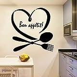 wZUN Cubiertos Etiqueta de la Pared Buen apetito Cita Arte Mural Cocina Comedor Decoración Vinilo Calcomanía Amor Corazón Mural 68X69cm