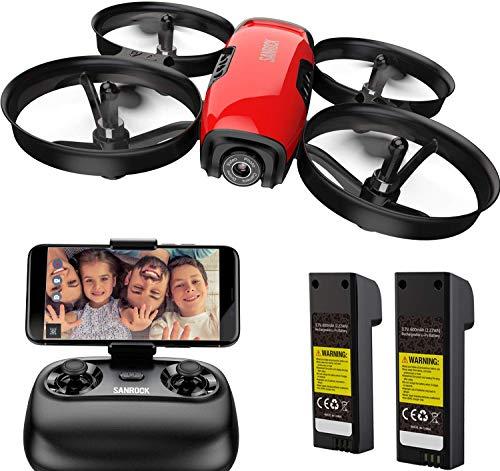 SANROCK U61W Mini Drone con Telecamera 720P HD FPV con 2 Batterie, Protezione dell'elica, Droni Telecomandati per Principianti e Bambini, Mantenimento dell'altitudine, Modalit Senza Testa