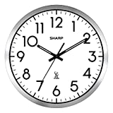 Sharp Atomic Analog Wall Clock - 12' Silver Brushed Finish - Sets Automatically- Battery Operated - Easy to Read - Easy to USE: Simple, Easy to Read Style fits Any Decor…