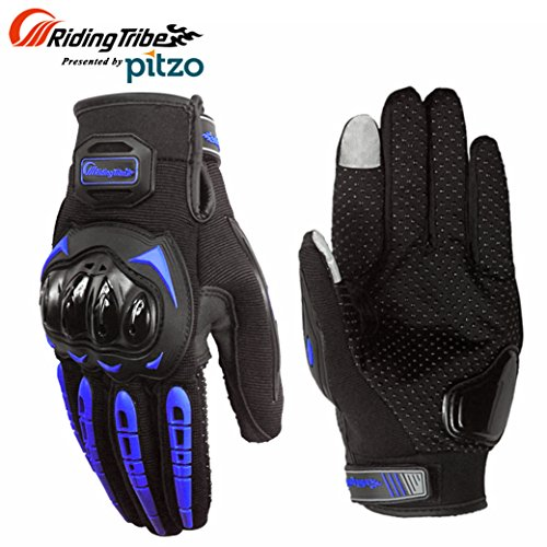 PITZO Probiker Tribe Full Finger Riding Gloves (Blue, XL)