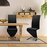 Giantex Set of 2 Modern Dining Chairs w/High Back, PU Leather Armless Chair for Home, Living Room, Bedroom, Leisure Chair w/U-Shaped Foot Padded Cushion, Black