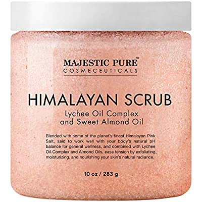 A Massage Body Scrub – Majestic Pure Himalayan Salt Scrub is formulated with powerful Natural Ingredients including Lychee berry, Sweet Almond Oil, and various Nutrients for their benefits on skin. Lychee Berry Oil has a soft, delicate scent and is r...