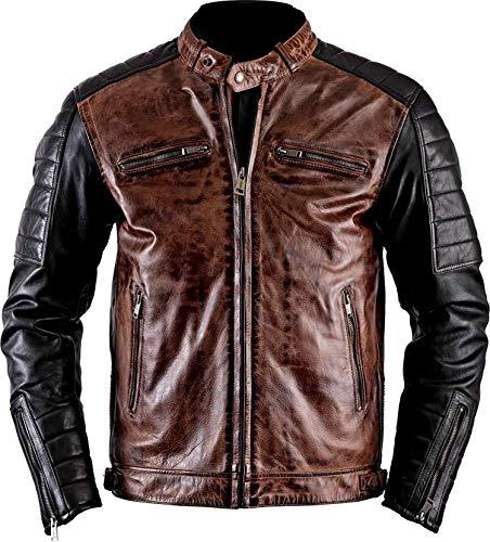 Fashion - Chaqueta de Piel para Hombre, diseño Retro M Cafe Racer Black & Brown M