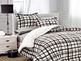Elegant Comfort Softest, Coziest Heavy Weight Plaid Pattern Micromink Sherpa-Backing Premium Quality Down Down Alternative Micro-Suede 3-Piece Reversible Comforter Set, King/Cal King, Mocha