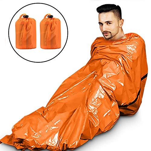 GoMaihe 2 Stück Biwaksack Wasserdicht Ultraleicht, 200 x 90cm Notfall Tube Zelt Survival Schlafsack, Outdoor Hitzeabweisend Kälteschutz Rettungszelt Rettungsdecke Camping Wandern Zubehör, Orange