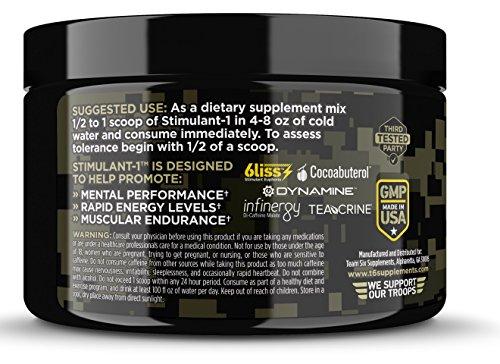 T6 Stimulant-1 Pre Workout Powder – World's Strongest Energy Drink Mix, Nootropic Fat Burner & Focus Supplement for Men & Women w/Taurine & Teacrine, 25sv 6