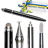 Stylus Pen 4-in-1 with Replaceable Brush, Capacitive Fiber Tip, Fine Point Disc Stylus Tip and Ballpoint in Gift Box (Black) by The Friendly Swede