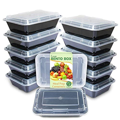 Enther Meal Prep Containers [12 Pack] Single 1 Compartment with Lids Food Storage Bento BPA Free | Stackable | Reusable Lunch Boxes, Microwave/Dishwasher/Freezer Safe Portion Control (28 oz), Black