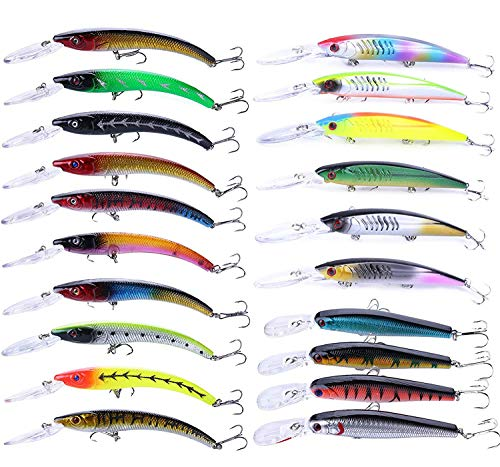 Fishing Lures Set Large Hard Bait Minnow Lure with Treble Hook Swimbait Fishing Bait Sinking Lure...