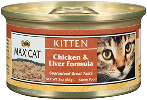 NUTRO MAX CAT Kitten Chicken and Liver Formula Canned Cat Food (Pack of 24) 3oz; Rich in Nutrients and Full of Flavor; Supports Healthy Digestion & Healthy Skin and Coat