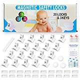 Eco-Baby Cabinet Locks for Babies - 20-Pack Magnetic Baby Proof Safety Latches, 3 Keys - Magnetic Baby Proof Lock for Cabinets, Doors, Drawers - Easy to Install Child Proofing