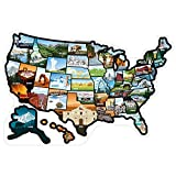 "RV State Sticker Travel Map of The United States (21"" x 14.5""/Large) - Travel Camper Map RV Decals for Window, Door, or Wall - Includes 50 State Decal Stickers with Scenic Illustrations"