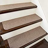 COSY HOMEER Stair Treads Non-Slip Carpet Mat 28inX9in Indoor Stair Runners for Wooden Steps, Stair Rugs for Kids and Dogs, 100% Polyester TPE Backing 15pcs,Beige