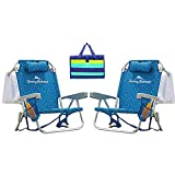 Rio Tommy Bahama Backpack Beach Cooler Chair Bundle (Blue Flower) with Camco Handy Mat