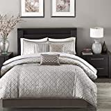 Madison Park Biloxi Jacquard Comforter Set-Modern Geometric Design All Season Down Alternative Cozy Bedding with Matching, Shams, Decorative Pillow, King(104'x92'), Ombre Silver, 7 Piece