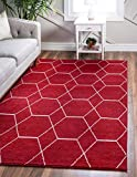 Unique Loom Trellis Frieze Collection Lattice Moroccan Geometric Modern Red Area Rug (6' 0 x 9' 0)