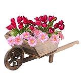 Denny International® Burntwood Wooden Wheel Barrow Planter for Garden Outdoor Patio Summer Cart