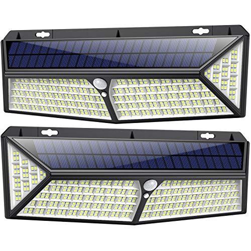 kilponen Luce Solare Led Esterno 430 LED USB Ricaricabile & 3500 Lumen Lampade Solari a Led da Esterno di Movimento 270 Illuminazione 4400mAh Luci Solari Impermeabile IP65 per Esterno