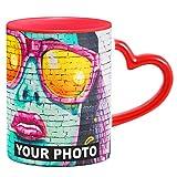 Tasse Personnalisable Tasse a Cafe avec Photo, Tasse Céramique Personnalisée, Photo Coupe Mug blanc avec Anse en forme de coeur Rouge [117]